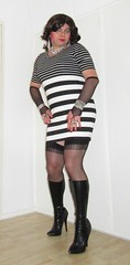 striped dress with stockings, boots and fishnet arms (Barb78ara) Tags: littledress stripeddress blackandwhite stockings stilettoheels stilettohighheels stilettoboots nylon nylons nylonstockings stockingtops boots tightboots