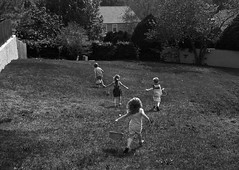 The race (Pejasar) Tags: easter hunt eggs race fun blackandwhite bw cousins children boys girls run holiday play search yard