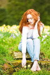 Picking the Flowers (Fairy_Nuff (piczology.com)) Tags: picking flowers daffoldils spring redhead beauty jenny osullivan model