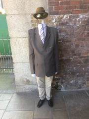 The 'headless' man now appearing on the South Bank. (Bennydorm) Tags: comedy humour joke laugh illusion iphone5s spectacle glasses tie hat clothes suit europe uk gb britain england london southbank bankside trick clever haha people man headless funny