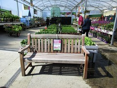 Balmoral bench (JulieK (enjoying Spring in Co. Wexford)) Tags: hbm bench gardencentre canonixus170 newross wexford ireland irish shadows sign 2017onephotoeachday inexplore