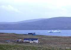 The Hamnavoe Returning Through Scapa Flow (orquil) Tags: hamnavoe northlinks roro ferry viking logo returning fromcaithness sailing tostromness through scapaflow natural shelteredanchorage calm blue sea seaside rural westmainland foreground petertown midquoy breck modern houses roughpasture background hoyisland coastline uncultivated hills bracken heather cloudy featureless sky dull overcast april evening spring orkney islands scotland uk unitedkingdom greatbritain orcades unusual interesting maritime ship elevated view coastal
