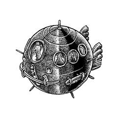 Having a ball (Don Moyer) Tags: ink drawing loleskine notebook moyer donmoyer brushpen spaceship sphere ball