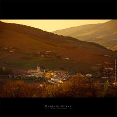 Village in Beaujolais (dominikfoto) Tags: quincié beaujolais village france brouilly sunset coucherdesoleil vignes paysage landscape