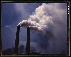 Smoke stacks, 1942. (michaeldonovan22) Tags: smokestacks 1942 alfredtpalmer photographer pollution officeofwarinformation found safe color kodachrome michaeldonovan michaeldonovan22
