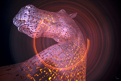 Spin the Kelpie (Waving lights in the dark) Tags: spin camerarotation camerarotate kinetic horse kelpies falkirk scotland afterdark nightphotography night illuminated illumination sculpture motion motionblur m9 motorway shotinoneexposure