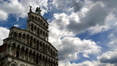Out of reach (little_frank) Tags: sanmicheleinforo basilica church lucca tuscany italy architecture architettura italia art arte cielo sky clouds nuvole facade middleages archangelmichael medieval landmark artwork romanesque dramatic romanico archs