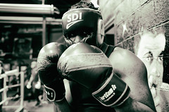 Double portrait with boxing gloves (johann walter bantz) Tags: 93 banlieueparisienne sportphotography portrait sport aubervilliers boxingbeats boxer sportler monochrome blackwhite xpro2 fujifilm france