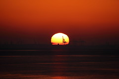 Sun crane (alan.irons) Tags: crane sun sunrise silhouette orangeskies dawn morn morning hulldocks humber hull