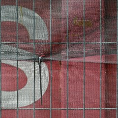 Urban Abstract No 36 (llawsonellis) Tags: mesh pattern texture s bars graphic selection crop abstract minimal lines linear rhythms outdoors urban square nikon nikond5300 red white grey grid
