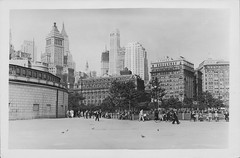 Downtown Manhattan in the 1930s, New York. (cobravictor) Tags: downtownmanhattan underconstruction buildings skyline skyscrapers vintage oldnewyork bw newyorkcity ny 1930s 30s