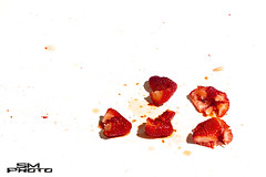 Crime Scene (Sawyer Mahoney Photography) Tags: shadow red food white plant color reflection art nature beautiful horizontal closeup fruit studio photography three photo juicy healthy strawberry berry shiny raw shot bright image sweet cut eating juice vibrant background object group seed vivid objects tasty front fresh delicious artsy sawyer isolated freshness ripe squashed mahoney nutrient smphoto