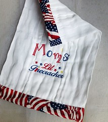 Firecracker Burp Cloth (Lofty Lady) Tags: 4thofjuly firecracker babygift burpcloth