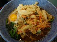 Kakiage Tempura & Raw Egg Soba Noodle @Komoro-Soba, Tokyo (Phreddie) Tags: food hot japan breakfast japanese restaurant tokyo raw egg eat soba noodle tempura buckwheat komoro kakiage 130515