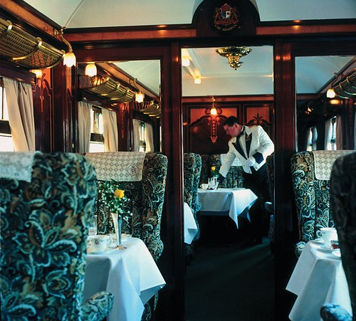British Pullman - dining car of a luxury train in the UK
