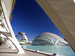 Valencia's Ciudad de las Artes y las Ciensias, Spain - the Hemisferic and Palau de les Arts (Jon Bower) Tags: city blue sky geometric glass architecture modern spain arts azure ciudad cloudless artes palau sciences agora concret hemisferic aluminim valenica umbracle modernistic ciensias meseu