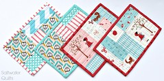 4 mug rugs (Saltwater Quilts) Tags: modern quilt quilted patchwork mugrug