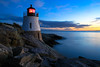 Sunset at Castle Hill Lighthouse (Photos By RM) Tags: pictures ocean blue light sunset lighthouse house castle night speed canon island eos drive bay rocks long exposure lighthouses skies slow hill newport hour 7d posters shutter narragansett rhose impressedbeauty blinkagain flickrbronzetrophygroup flickrstruereflection1 flickrstruereflection2 flickrsfinestimages1 celebritiesofphotographyforrecreation photographyforrecreationclassic pwpartlycloudy