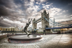England - London - Dolphin and London Tower Bridge