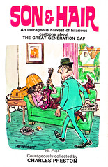 son & hair cover hippie cartoon (Al Q) Tags: hair 60s guitar cartoon longhair son paperback cover hippie parody ridicule hairdryer