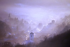 Meet me home for Christmas (Cristian Ştefănescu) Tags: roof winter church fog smog nebel vale valley romania banat iarna ceata oravita outstandingromanianphotographers