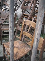 Having a Bad Chair Day / jailbait (Ladybadtiming) Tags: wood wild church trash outdoors grid garbage chair ancient furniture straw prison pile outofplace abandonned hbcd