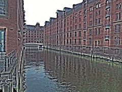 Hamburg Canal Reflection (zorro1945) Tags: reflection brick germany deutschland canal europa europe hamburg hh hafen warehouses redbrick hamburghafen