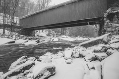 Under the covered bridge in black and white at McConnells Mill State Park (Dave DiCello) Tags: winter snow ice coveredbridge mcconnellsmill longexposures ndfilter neutraldensityfilter mcconnellsmillstatepark winterinpa davedicello coveredbridgeatmcconnellsmill bridgesinthesnow snowatmcconnellsmill coveredbridgeinthesnow mcconnellsmillinthewinter