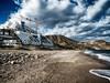 Parque Natural (dubdream) Tags: sea sky españa cloud house mountains beach water stone landscape andalucía crane playa panasonic almería mediterráneo parquenatural colorimage elalgarrobico gatanijar dubdream dmcgx7