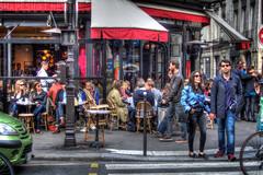 corner cafe (shapeshift) Tags: street travel people paris france corner cafe couple europe streetphotography photojournalism panasonic sidewalk shapeshift davidpham 2013 fz200 davidphamsf