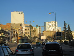Traffic and modern buildings in Ville Nouvelle, Meknes, Morocco (Paul McClure DC) Tags: meknes meknès morocco almaghrib jan2017 architecture modern