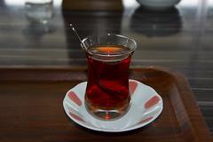 Turkish tea (Kirlikedi) Tags: beverage drink glass hot red service smoke spoon tea teaplate tray