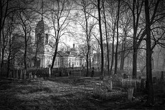 Church for the sake of Saint Eudoxia #3 (explored) (Unicorn.mod) Tags: 2017 bw monochrome blackandwhite blackwhite landsape church ortodoxchucrch cemetery temple ortodox april trees cityscape spring