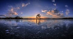 Spring evening on the frozen lake (Kari Siren) Tags: spring evening sunset ice lake karijärvi jaala finland samyang 8mm fisheye