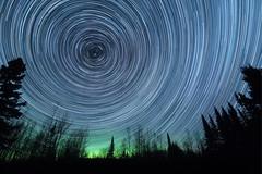 Aurora Glow (NightSkyMN) Tags: startrails trails stars aurora auroraborealis northernlights trees blue gree hovland northshore cookcounty minnesota longexposure stack