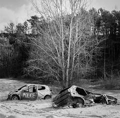 Autocord Minolta Carrière au carré-5 (photosreggar) Tags: carré square argentique minolta autocord rokkor voiture car forêt wood noir noiretblanc blackandwhite black extérieur