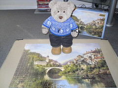 A bridge over a river... (pefkosmad) Tags: jigsaw puzzle tedricstudmuffin teddy bear ted cute soft stuffed animal toy plush cuddly fluffy ariverviewinalsace hobby leisure pastime