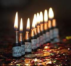 """Happy 10 Years!"" - Macro Mondays (RiverCrouchWalker) Tags: dof macromondays happy10years tengreenbottles celebration tableconfetti candles flames macro bokeh"