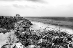 Temple of the God of Wind (dbpeterson723) Tags: mexico ruins blackandwhite beach shore harbor lighthouse temple