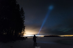 Fight against the darkness. (laurilehtophotography) Tags: selfie flashlight night star sky winter spring lightpollution island lake ice snow landscape nature suomi finland jyväskylä leppälahti nikon d3100 sigma 1020mm f35 wideangle