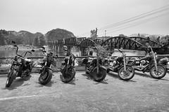 482 Cavalry on the River Kwai (Hrvoje Simich - gaZZda) Tags: river bridge transportation bike blackwhite water sky harleydavidson kwai thailand nikon nikond750 gazzda hrvojesimich nikkor283003556