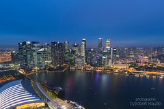 Singapore Skyline (redEOS92) Tags: canon asia city architecture skyline travel holiday world buildings skyscrapers night blue sky lights bay water glass singapore singapur sg
