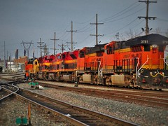 BNSF at KCS/CP Knoche (Midwest_Matt9720) Tags: bnsf kcs atsf paint knoche et44c4 es44 yellow bonnet blue orange red sd70ace sd70 gevo power kansas city missouri rail line engines locomotives emd ge new