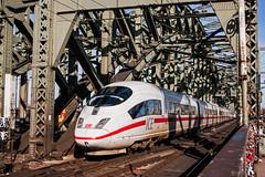 DB ICE train No.4607 leaving Cologne Hbf and crossing the River Rhine east of the station. (mikul44171) Tags: ice icetrain rhine colognehbf kolnhbf padlocks lovers 4607 406007
