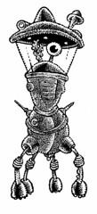 4-legged alien craft (Don Moyer) Tags: vehicle alien spaceship ink drawing sketchbook moyer donmoyer brushpen