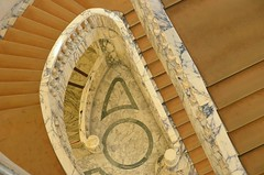 spiral staircase (mcfcrandall) Tags: marble curved staircase artgallery bucharest romania carpet lines railing