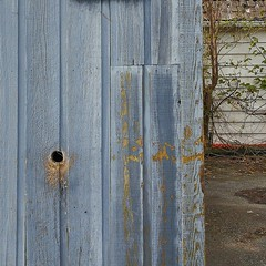 Rural beauty... (Beeke...) Tags: minimalist urban rural abstract detail fence woodweatheredwood blue countryside schuppen backalley