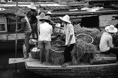 Li River - Local ferry at Xingping 1993 (Bruce in Beijing) Tags: china guangxi yangshuo xingping ferry riverboat cargoes people villagers bicycle