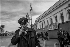 1m2_DSC1791 (dmitry_ryzhkov) Tags: metro subway terminal station uniform railway work worker job smoke smoker smoking cigarette tabak eye eyecontact contact look looks motion movement walk walker walkers pedestrian pedestrians sidewalk sony alpha black blackandwhite bw monochrome white bnw blacknwhite bnwstreet day daylight one art city europe russia moscow documentary journalism street streets urban candid life streetlife citylife outdoor outdoors streetscene close scene streetshot image streetphotography candidphotography streetphoto candidphotos streetphotos moment light shadow people citizen resident inhabitant person portrait