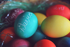 Hard Boiled Holiday (Hi-Fi Fotos) Tags: hard boiled colored easter eggs basket holiday pastel dye names blessed grass tradition nikkor 40mm micro nikon d5000 hififotos hallewell food bokeh dof